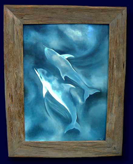Dolphins in Cloud Reflections